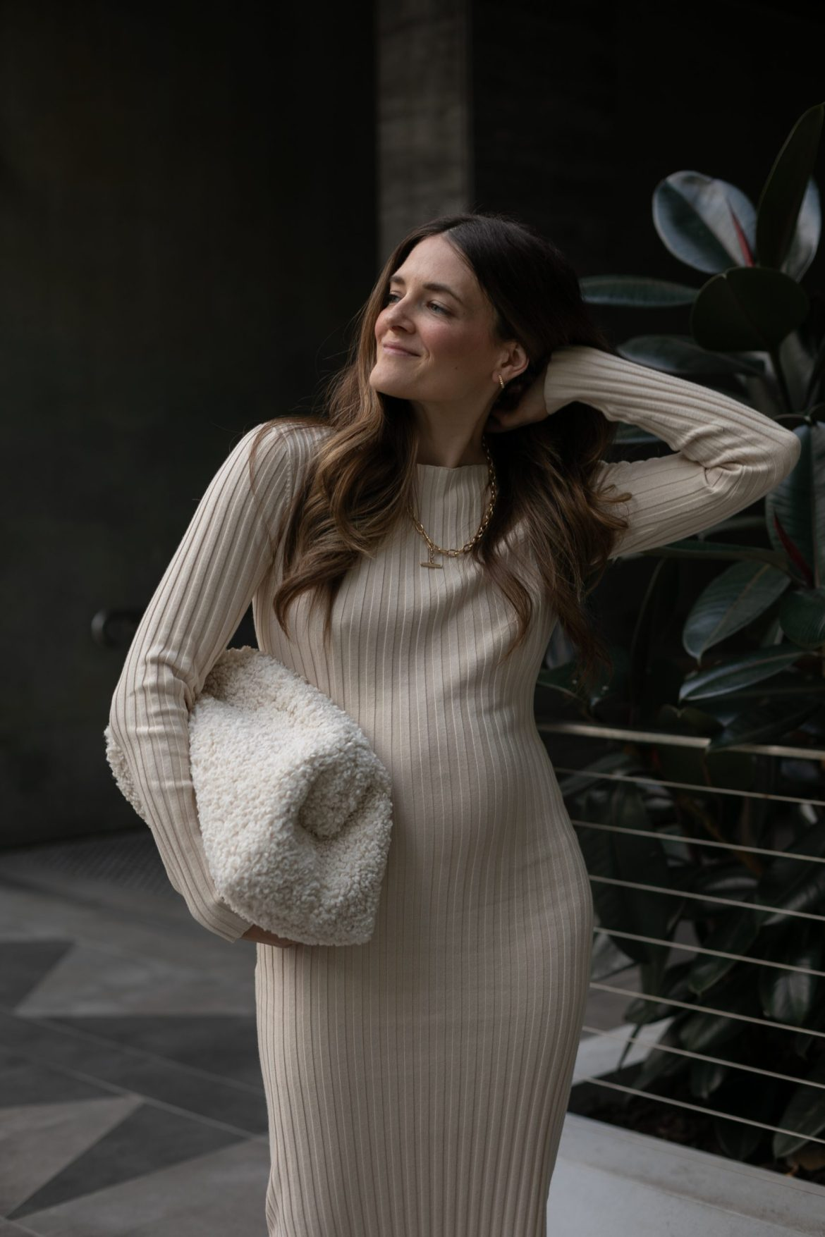Knit dress in cream that will carry you through winter to spring