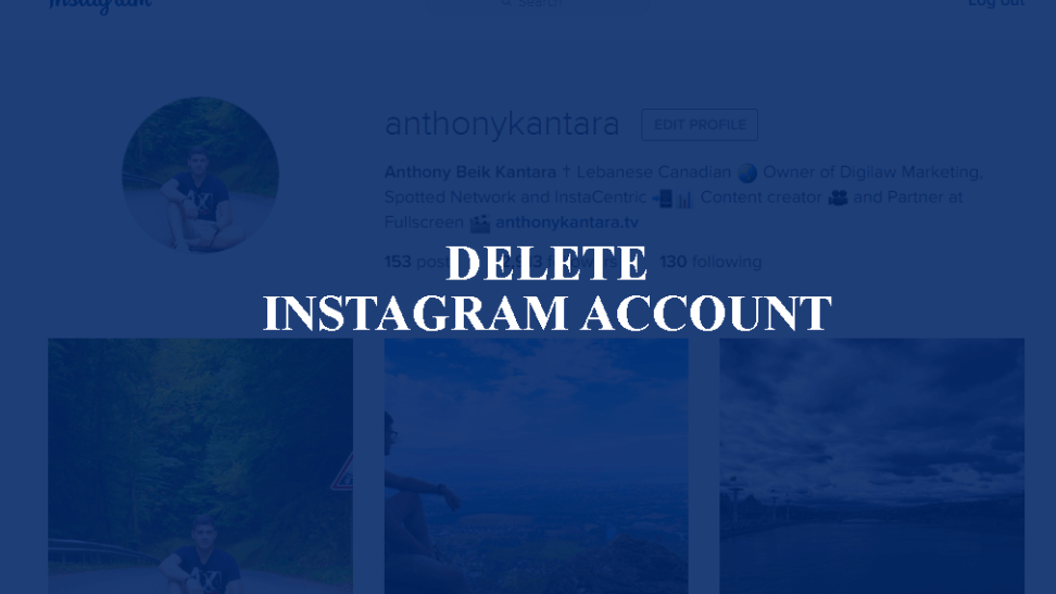 delete instagram account