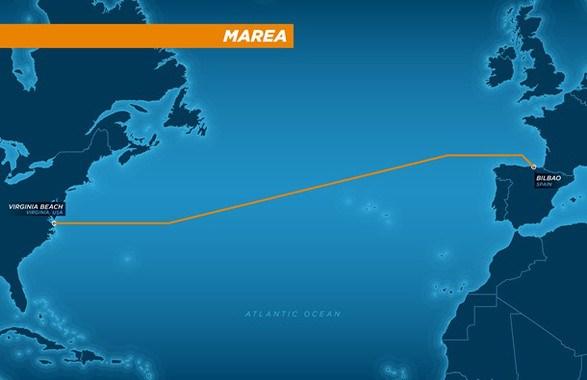 El nuevo cable submarino unirá Virgina (Estados Unidos) y Bilbao para mejorar los servicios online de Microsoft y Facebook. / Microsoft