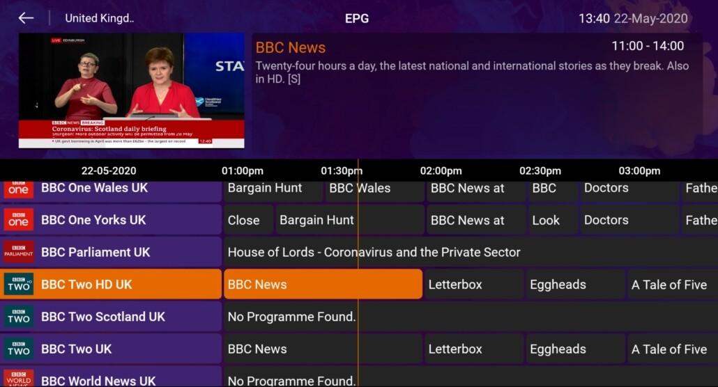 EPG-modus van kanalenlijst