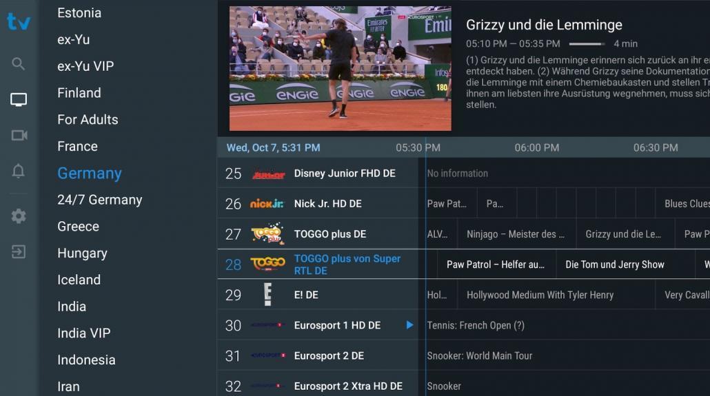 Lijst met TiviMate TV-kanalen