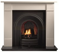 Brompton Limestone Fireplace with Crown Black Arch for ...