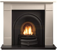 Brompton Limestone Mantel and Tradition Arch for Solid-Fuel