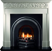 Asquith Limestone and Tradition Black Arch Fireplace suite