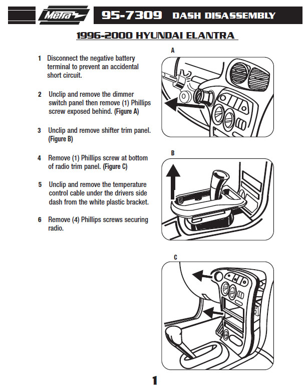 1996 Hyundai Elantra w- double-din Installation Parts