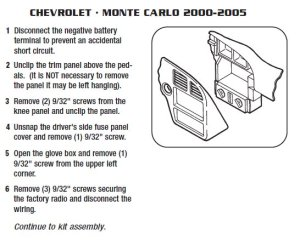 2004 Chevrolet Monte carlo Installation Parts, harness, wires, kits, bluetooth, iphone, tools
