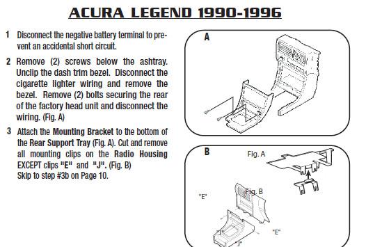 1993 ACURA LEGENDinstallation Instructions