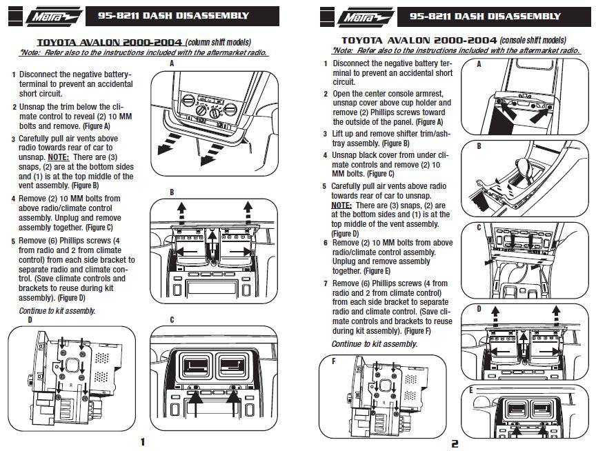.2000-TOYOTA-AVALONinstallation instructions.