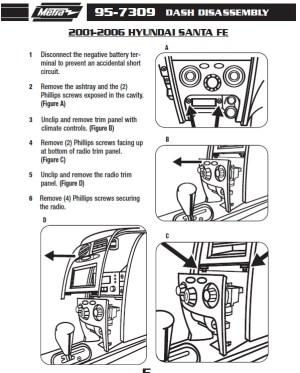 2001HYUNDAISANTA FEinstallation instructions