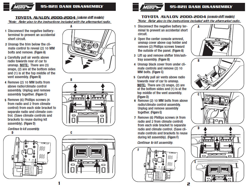 .2001-TOYOTA-AVALONinstallation instructions.