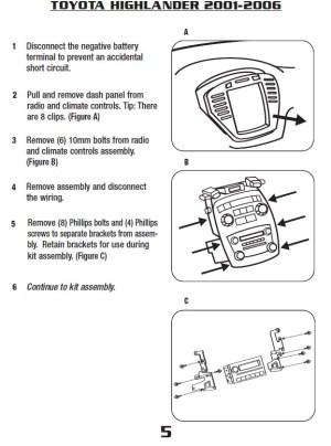 2001TOYOTAHIGHLANDERinstallation instructions