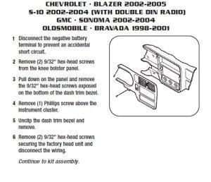 2005CHEVROLETBLAZERinstallation instructions