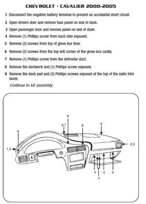 2005CHEVROLETCAVALIERinstallation instructions