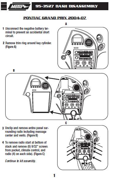 2004 pontiac grand am stereo installation kit