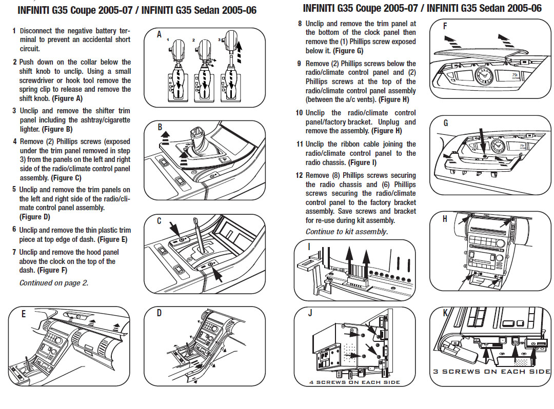 .2006-INFINITI-G35 SEDANinstallation instructions.