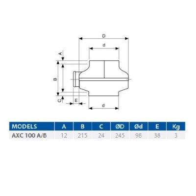 AXC 100B Aspiratore centrifugo in linea da condotto- Elicent 2AX1123