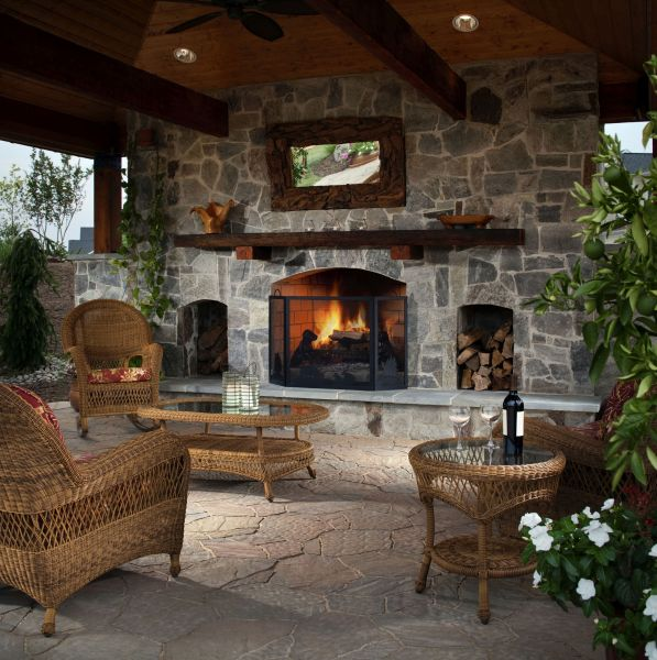 outdoor living space with fireplace How to Make Your Backyard Feel Like a Resort | INSTALL-IT