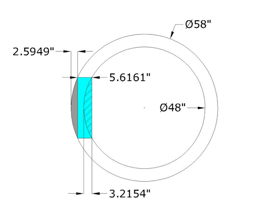 Need volume of hole removed from hollow cylinder with 5