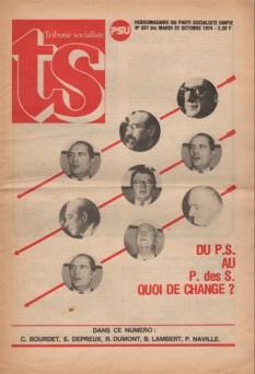 Couverture de Tribune Socialiste N°631 Bis 22 0ctobre 1974