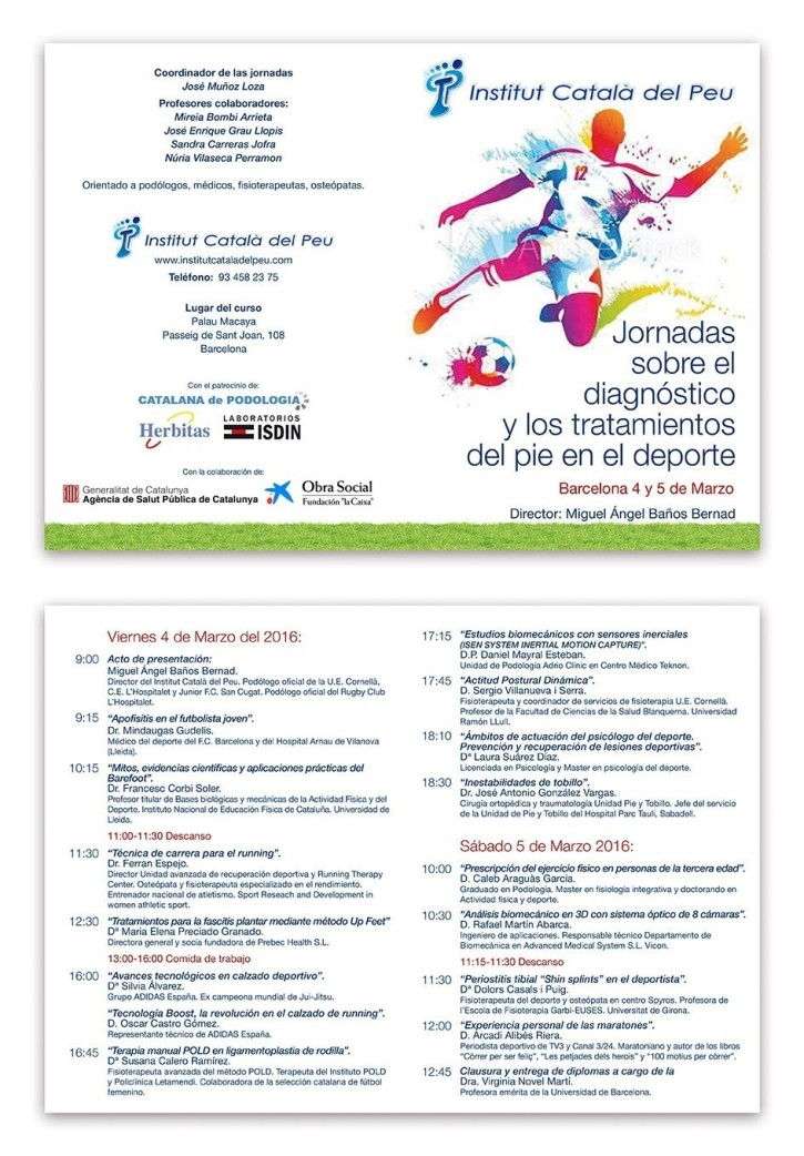 "The Institut Català del Peu organizes the ""Conference about the diagnosis and the treatments of the foot in sport"" in Barcelona"