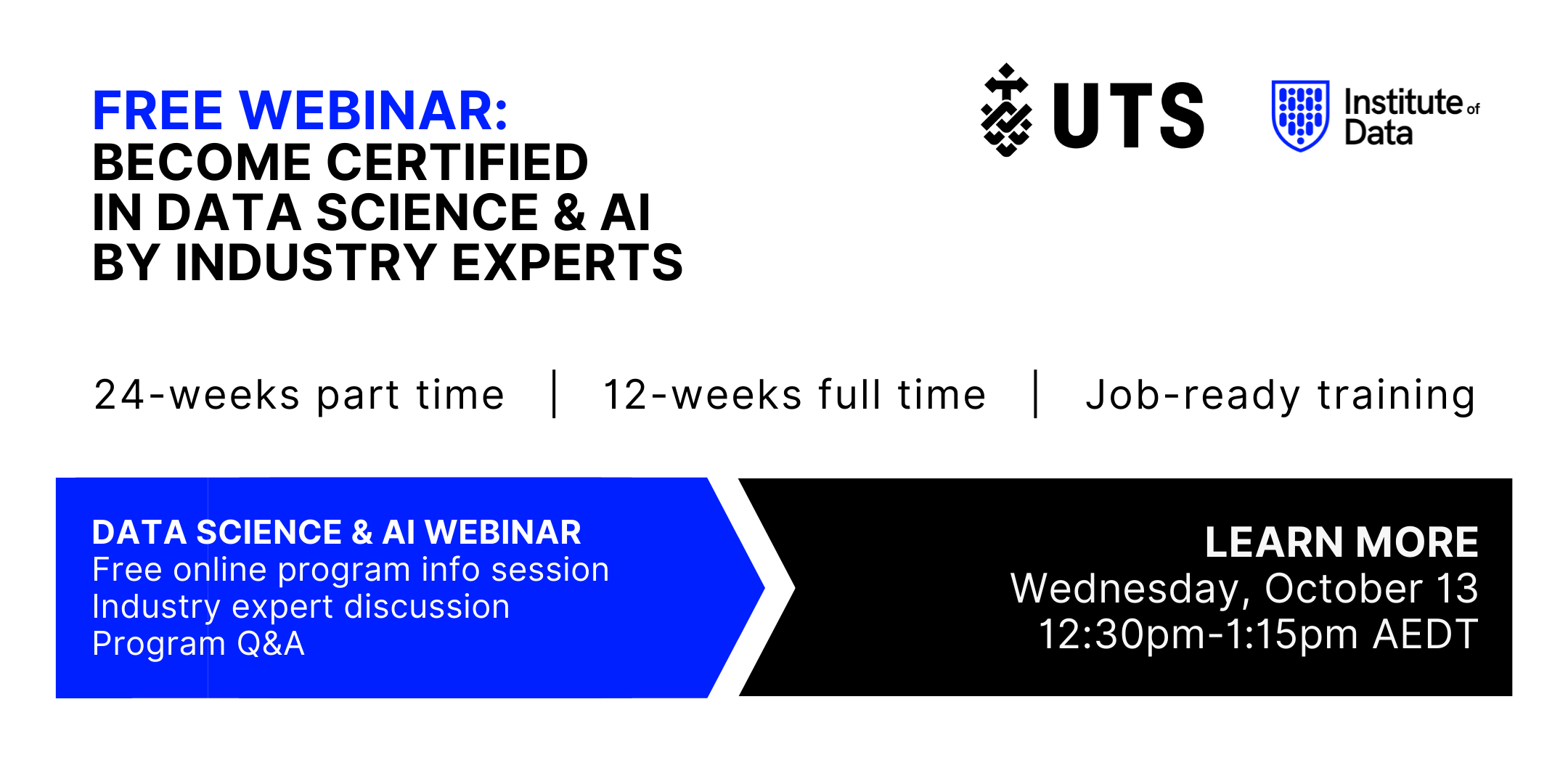 Institute of Data UTS - Data Science and AI Program - Online Info Session - October 13 2021