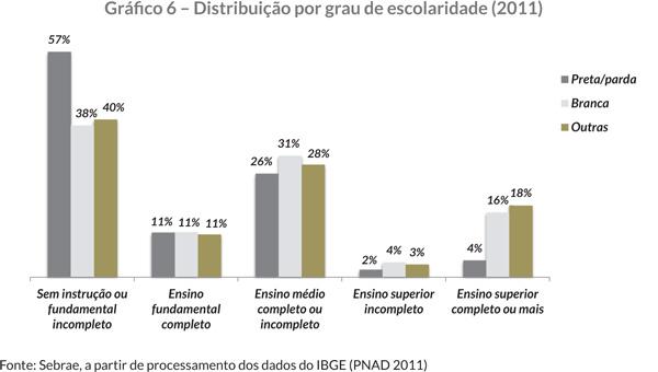Gráfi co 6 – Distribuição por grau de escolaridade (2011)