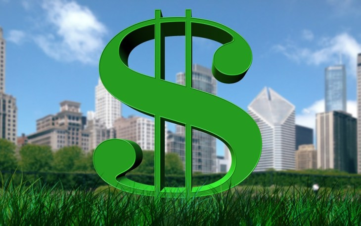 dollar sign with buildings background
