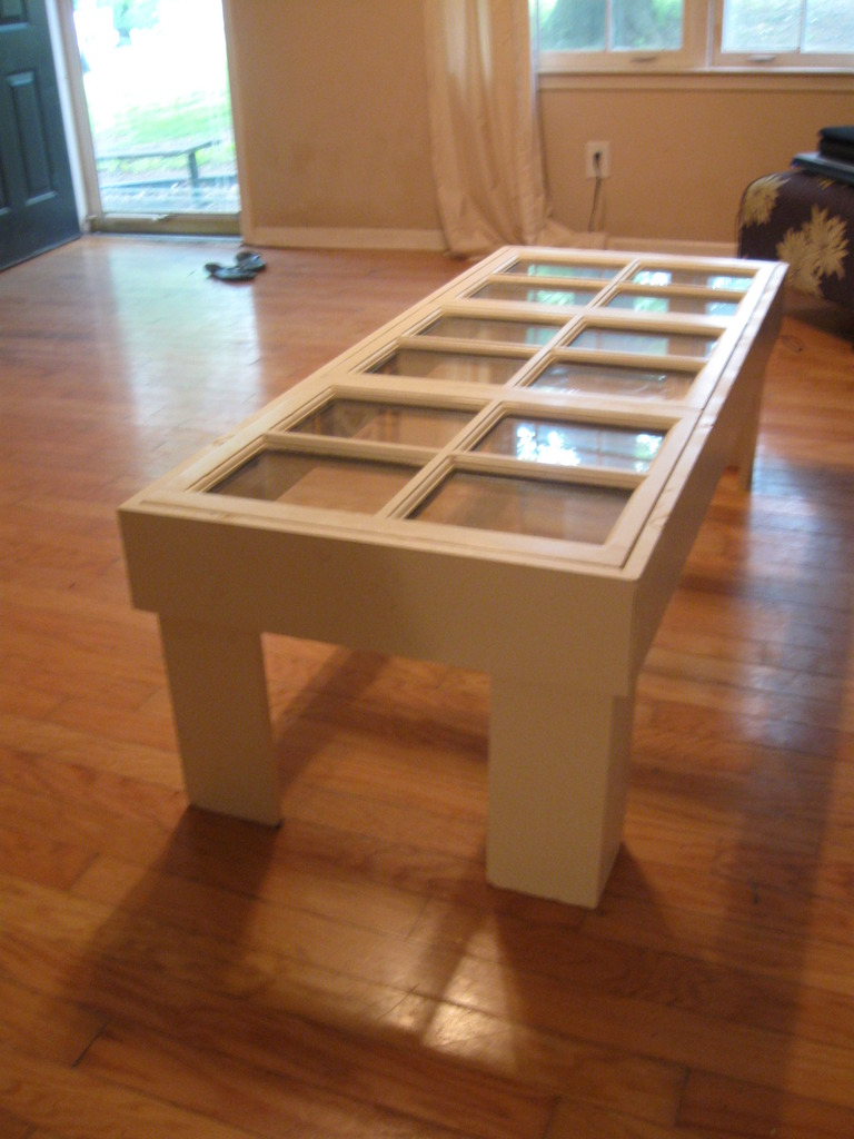 coffee table with antique windows 5
