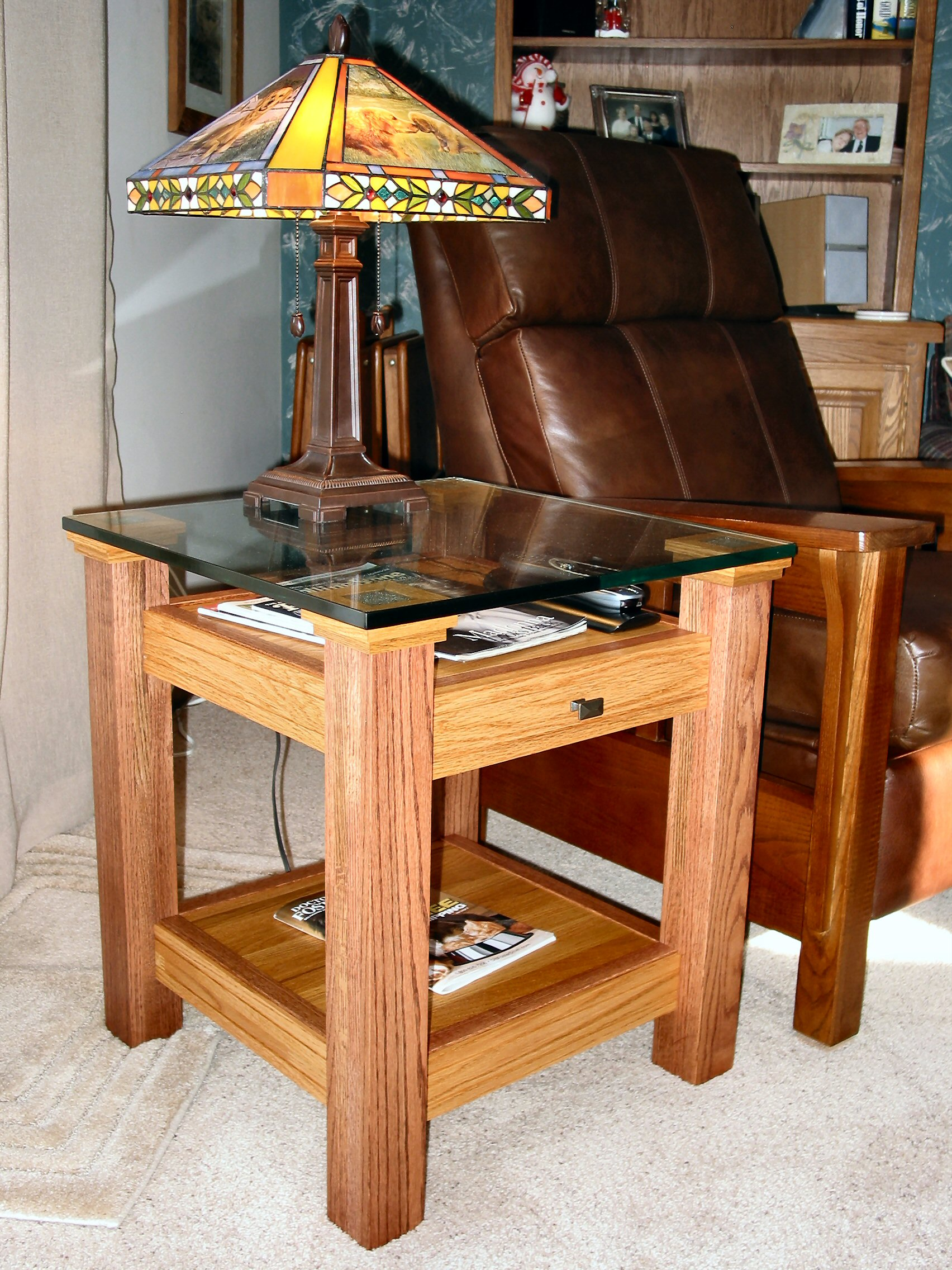oak glass display top end table 13