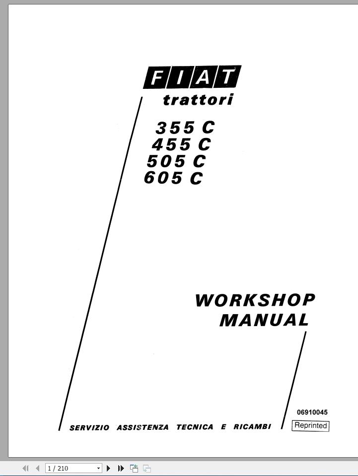 Fiat Tractor 355,455,505,605 C Workshop Service Repair