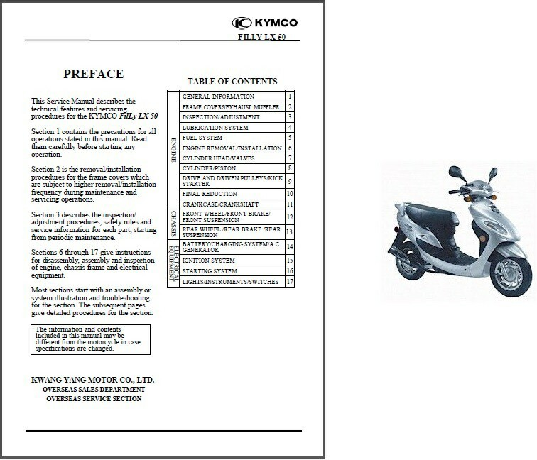 KYMCO FILLY LX50 Scooter Service & Repair Manual