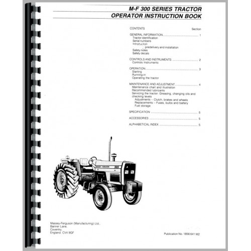 Massey Ferguson 300 series tractor factory workshop and