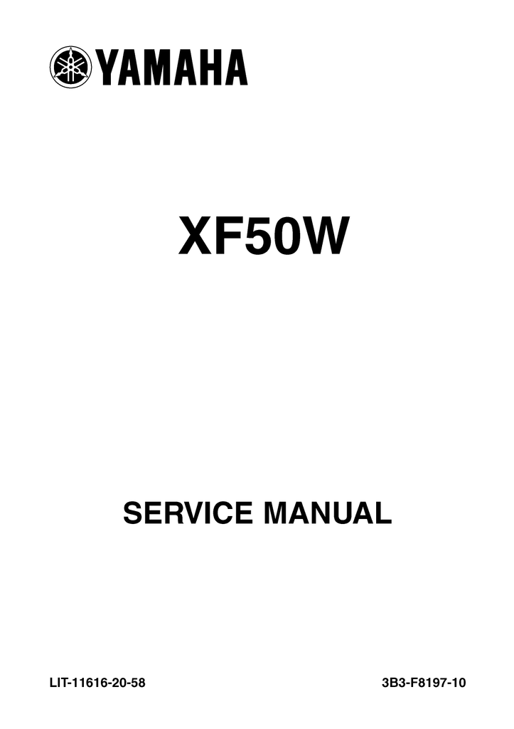 YAMAHA XF50W Service Repair Manual pdf 2006 Onwards