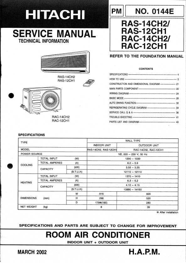 Сервисная инструкция Hitachi RAS-07, CH2, 08CH1, 09CH2