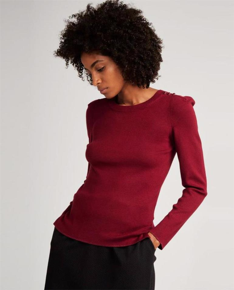 Maroon fine knit sweater by Naf Naf