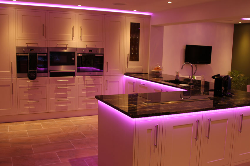 InStyles RGBW LED lights make this kitchen shine