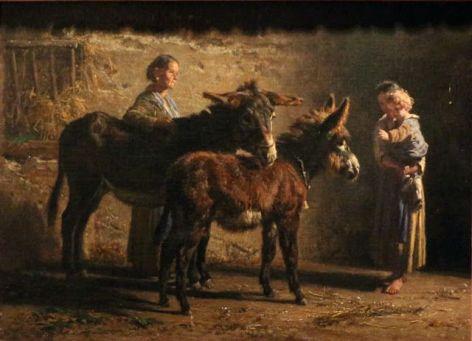 Stalla con due asinelli e tre figure, 1871, Olio su tela
