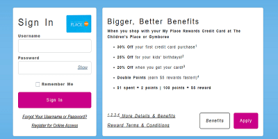 Children's Place Credit Card Login   Children's Place Pay My Bill
