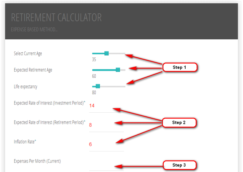 Retirement Calculator - How to use