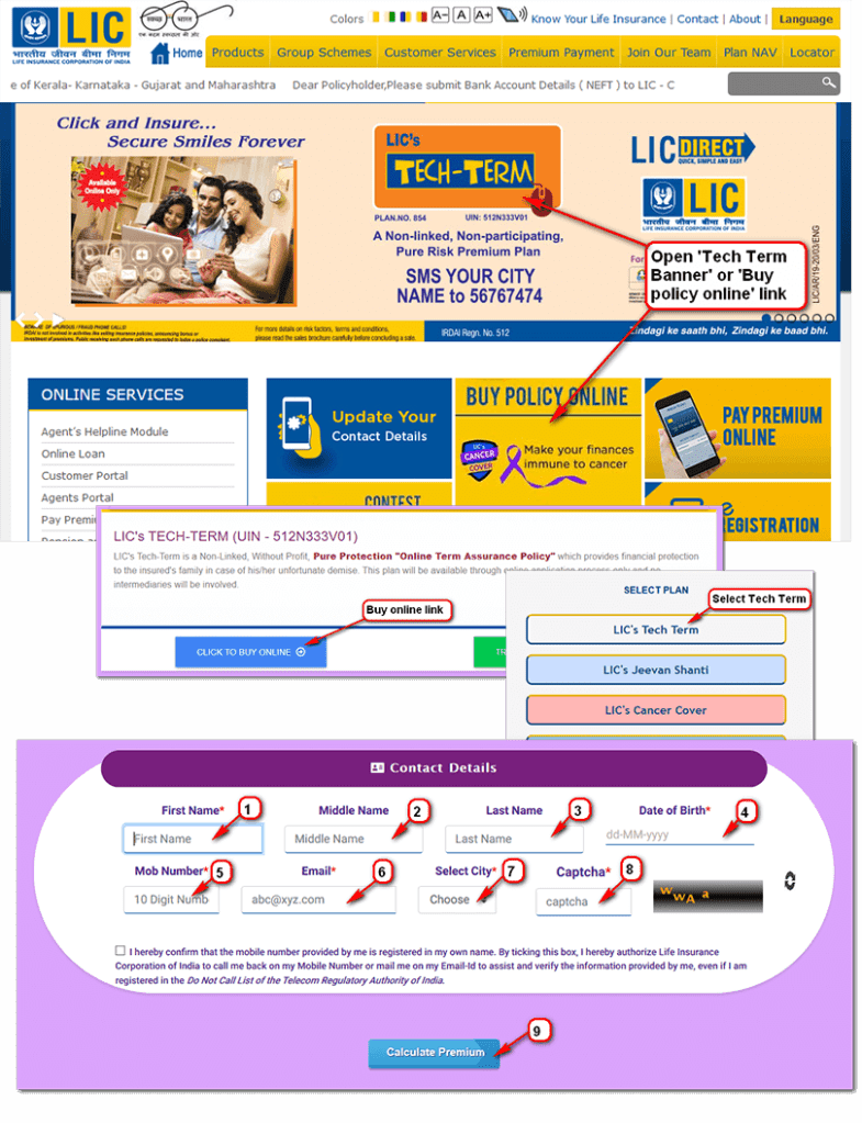 LIC Tech Term - pan 854 - how to purchase /buy online