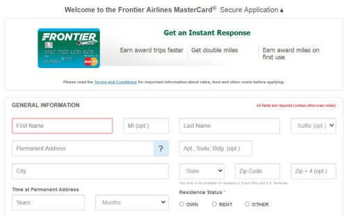 Frontier Airlines MasterCard Online
