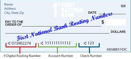 First National Bank Routing Numbers