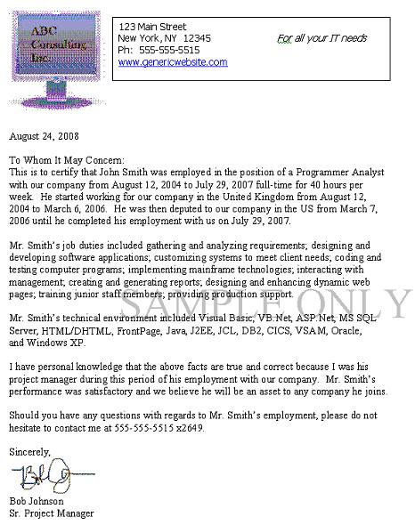 No Experience Letter From Previous Employer For Green Card   Letter Template