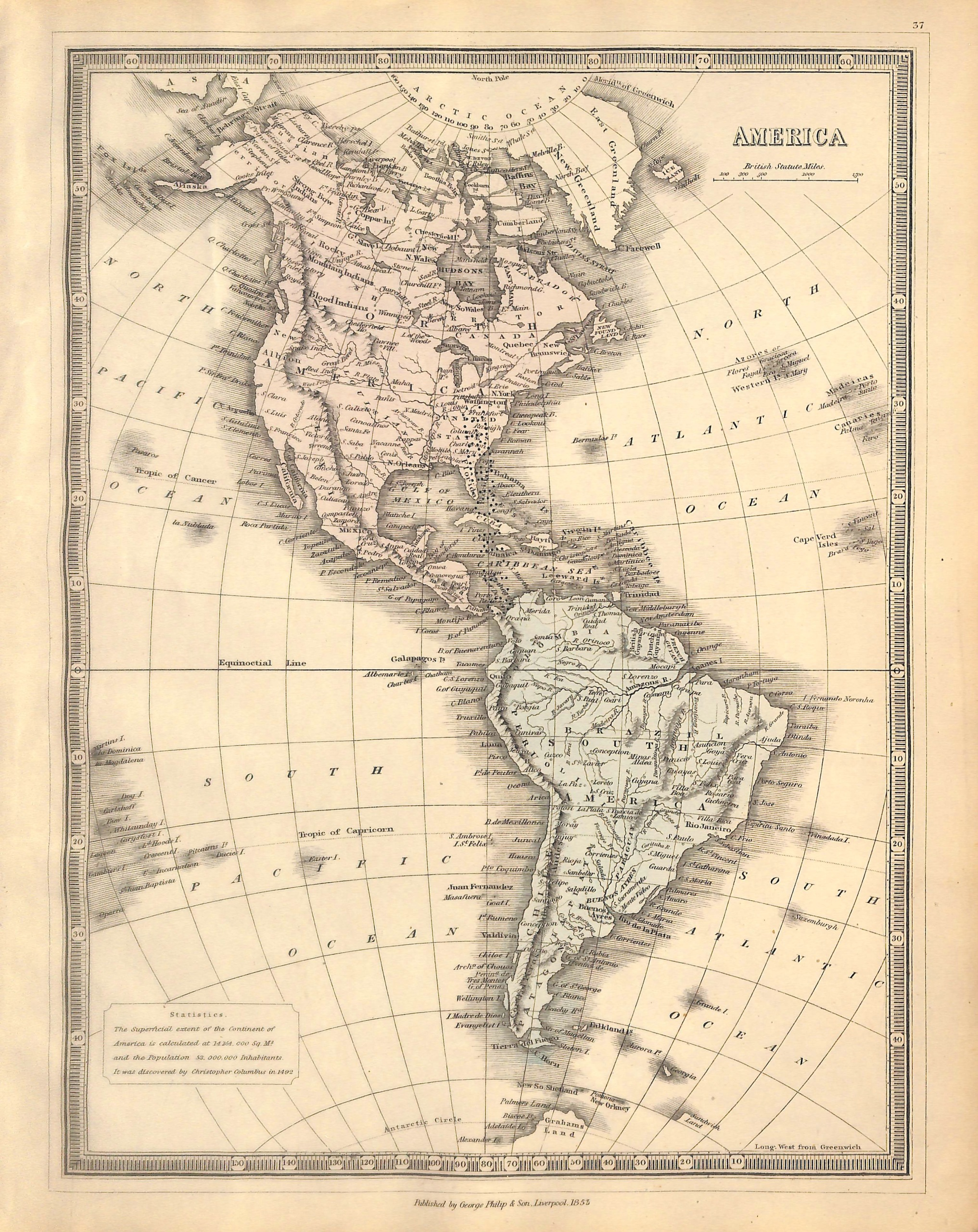 North America South America Map Of The Americas