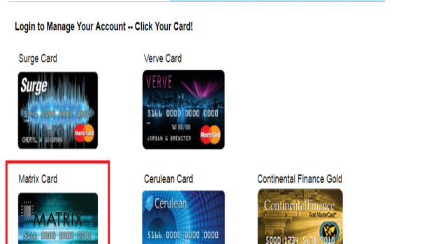 matrix credit card login