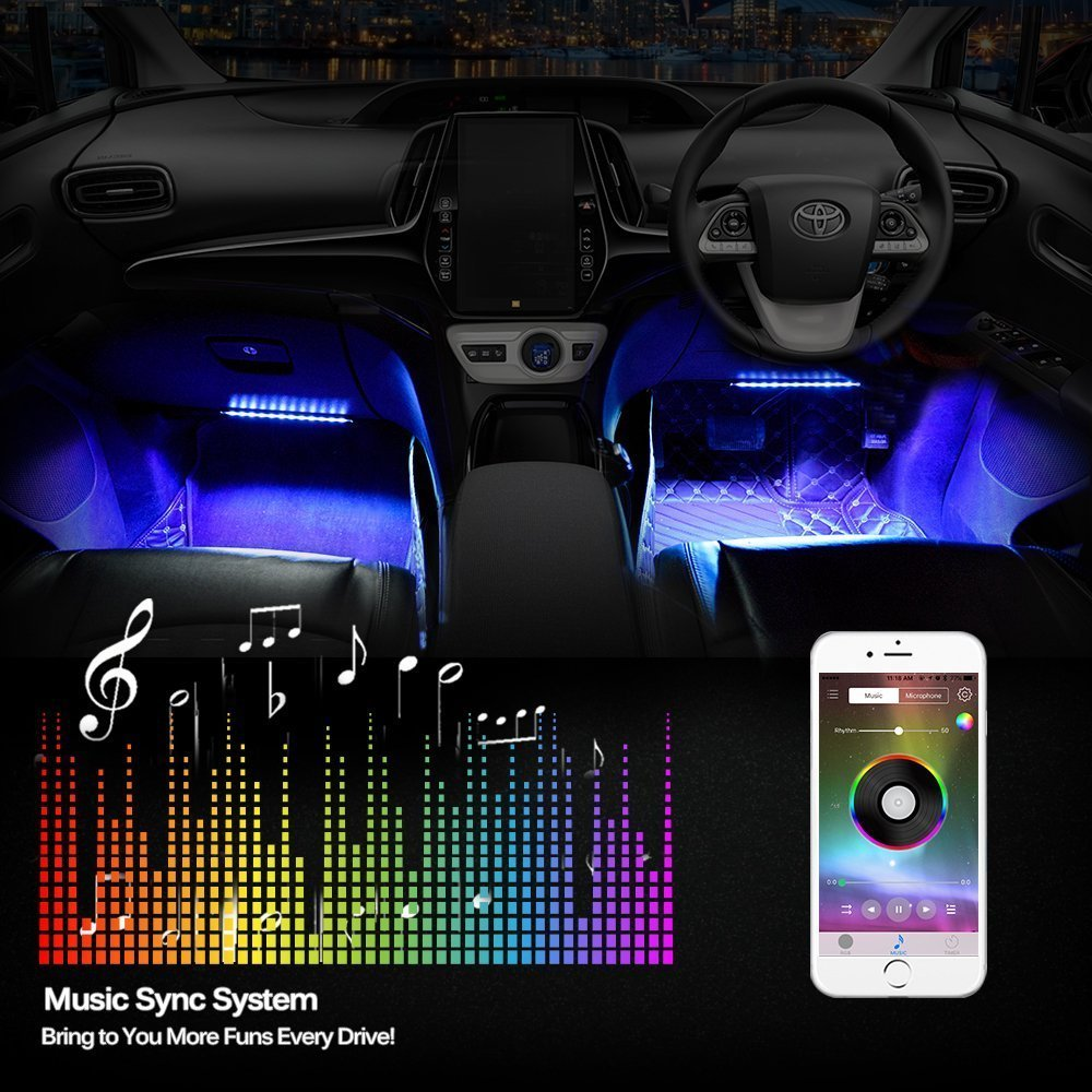 Inteching app control bluetooth led strip lights for cars inteching inteching app control bluetooth music atmosphere led strip lights for cars aloadofball Images