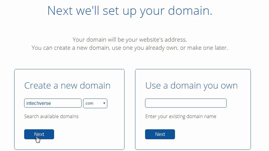 Bluehost domain creation