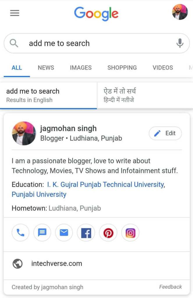 google's people card result