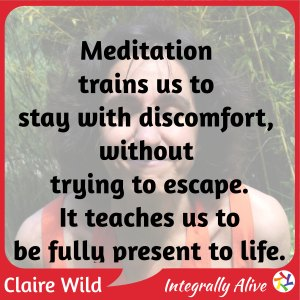 Meditation trains us to stay with discomfort, without trying to escape. It teaches us to be fully present to life.