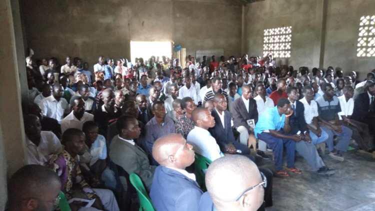 Large gathering inside a church
